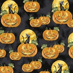 Windham Fabrics Fright Night 33658 X Jack O Lanterns Black