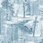 Whispering Winter 38528 144W Whispering Winter Snow Trees Tonal Blue, Wilmington Prints