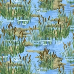 A Lazy Afternoon 35676 472 Cattails Allover Blue, Wilmington Prints