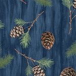 Among the Pines 82403 427W Tossed Pine Cones, Dark Blue by Wilmington