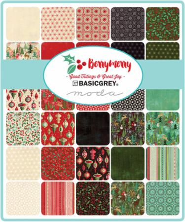 Berry Merry Charm Pack, Basic Grey by Moda | Hingeley Road ...
