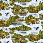 Henry Glass Flannel Northern Exposure 9427F 66 Open Water Wildlife
