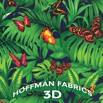 Hoffman 3-D Coming at you J8611-8 Green Jungle Butterflies