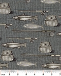 Benartex Kanvas Catch of Day 5728 11B Tweed Fishing Grey