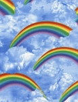 Rainbow and Clouds C4093 Blue, Timeless Treasures
