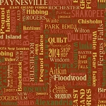 Clothworks Quilt MN 2014 Shop Hop Y1496 51 Cities Red