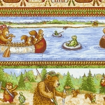 RJR Ramblin Woods 1007 01 Bears on Lake Border Print