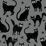 Fangtastic 1096G 90 Grey Black Cat Glow in the Dark, Henry Glass