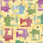 Fabric Follies 25761 S Sewing Machines Butterscotch, Quilting Treasures