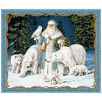 All is Calm 25871 B Arctic Santa Panel Blue, Quilting Treasures