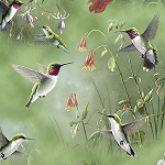 Hummingbirds 25934 G Green Scenic, Quilting Treasures