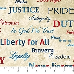 Stonehenge Stars and Stripes 39373 11 Cream Words, Northcott