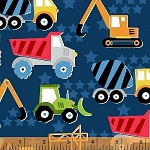 The Big Dig 42925 1 Dark Blue Trucks, Windham Fabrics