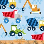 The Big Dig 42925 2 Light Blue Trucks, Windham Fabrics