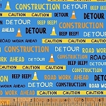 The Big Dig 42927 2 Construction Words Light Blue, Windham Fabrics