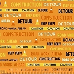 The Big Dig 42927 6 Construction Words Orange, Windham Fabrics