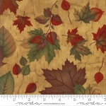 Endangered Sanctuary Flannel 6653 16F Golden Oak Large Leaves, Holly Taylor by Moda
