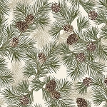 Into the Woods Flannel 8489F 07 Pine Cream Green, Kanvas by Benartex