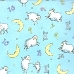 Beddy Bye Flannel 23130 12F Sky Counting Sheep, Ingrid Slyder by Moda