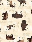 At The Lodge 43878 112 Flannel Cream Animals, Wilmington Prints
