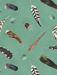 At The Lodge 43880 494 Flannel Green Feathers, Wilmington Prints