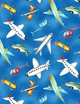Ready for Takeoff 65185 431 Airplanes Blue, Wilmington Prints