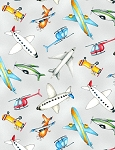Ready for Takeoff 65185 931 Airplanes Grey, Wilmington Prints