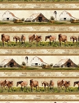 Greener Pastures 82489 272 Horse and Barn Border, Wilmington Prints