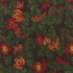 Turning Leaves 6571 14 Large Leaves Pine Dark Green, Holly Taylor by Moda
