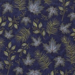 Woodland Summer 6544 15 Dark Blue Leaves, Holly Taylor by Moda