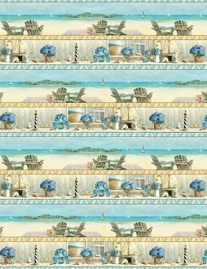 Coastal Bliss 89173 421 Border Print, Wilmington Prints