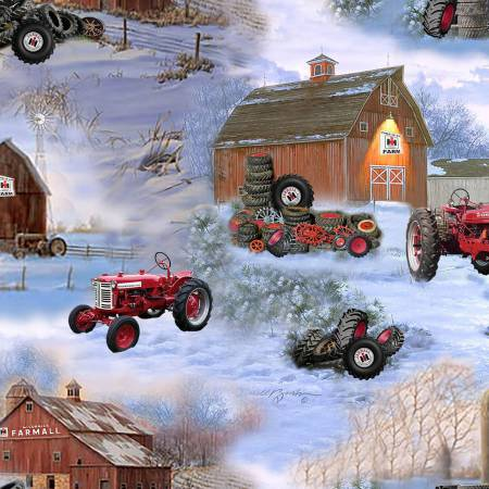 Farmall 10185 Barn and Tires Allover, Print Concepts