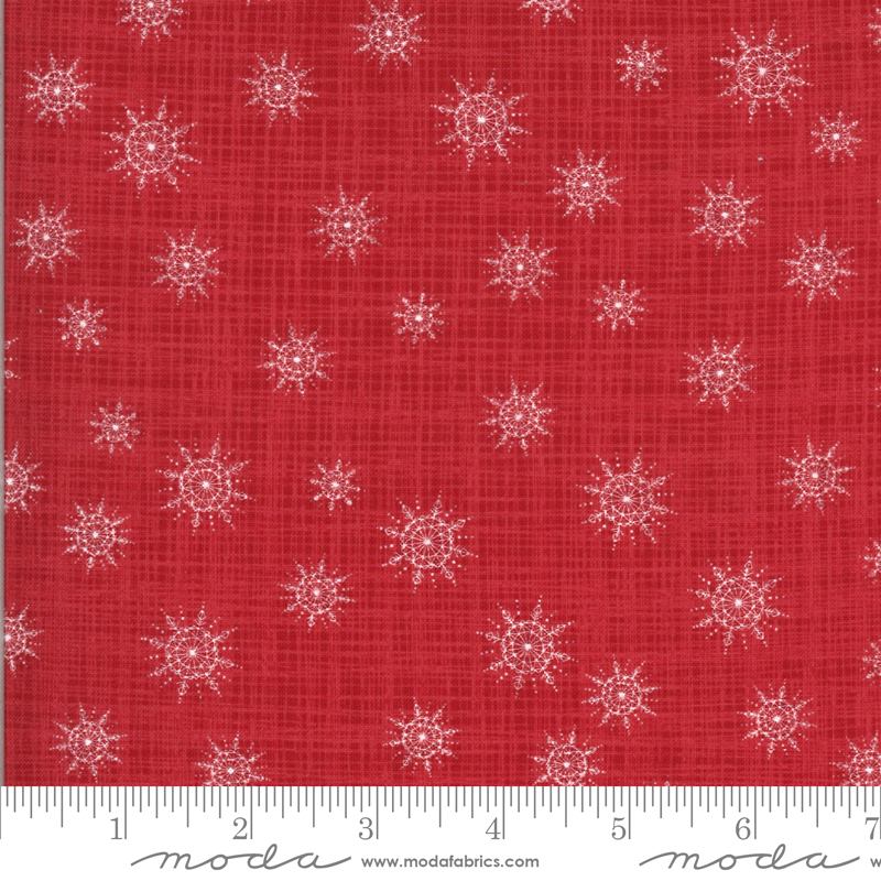 Juniper Frost 13204 12 Red Snowflakes Kate and Birdie Moda