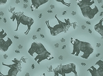 Rustic Living 22695 Q Aqua Scattered Animals, Quilting Treasures