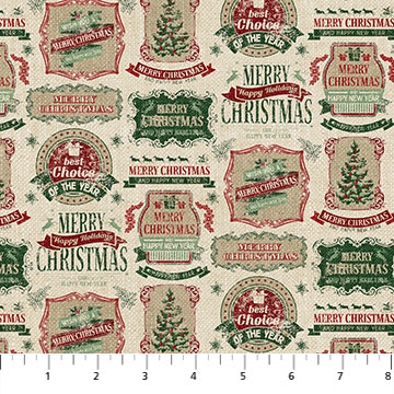 Vintage Christmas 23548 12 Labels, Northcott