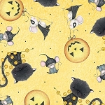 Charmed 23883 S Mini Cat Mouse Yellow, Quilting Treaures