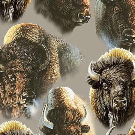 Where the Buffalo Roam 24989 K Grey Packed Bison, Quilting Treasures