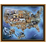United States Animal Map Panel 26934 X, Quilting Treasures