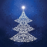 Gradients Holiday 33430 11P Blue Tree Digital Panel 60 x 60, Moda
