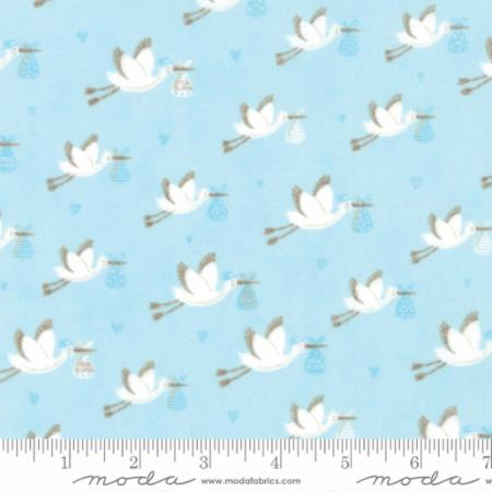 Sweet Baby Flannel 35281 13F Storks Blue, Abi Hall by Moda