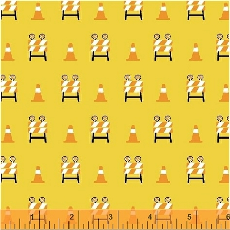 The Big Dig 42928 8 Barricade Cones Yellow, Windham Fabrics