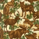 Timber Lodge Flannel 12622 265 Parchment Animals, Kaufman