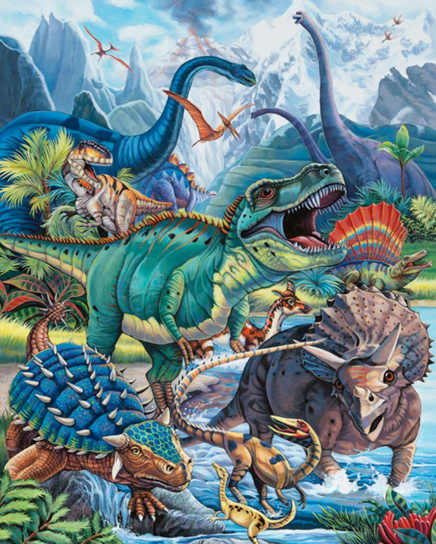 "Robert Kaufman Picture This 17038 267 Digital Dinosaur  36/"" PANEL Cotton Fabric"