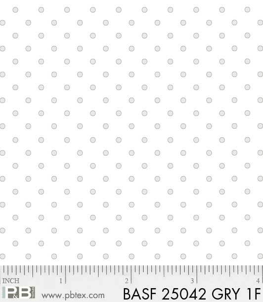 Basically Hugs Flannel 25042 Grey On White Dots, P and B Textiles
