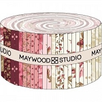 Burgundy and Blush Jelly Roll Strips, Maywood Studio