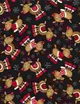 Winter Flannel CF2156 Black Tossed Reindeer, Timeless Treasures