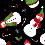 Tossed Snowmen CF3450 Black Flannel, Timeless Treasures