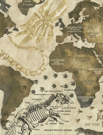 Dinosaur Map C5725, Timeless Treasures