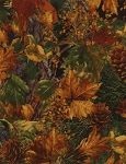 Mixed Leaves and Pinecones CF3558 Natural Flannel, Timeless Treasures