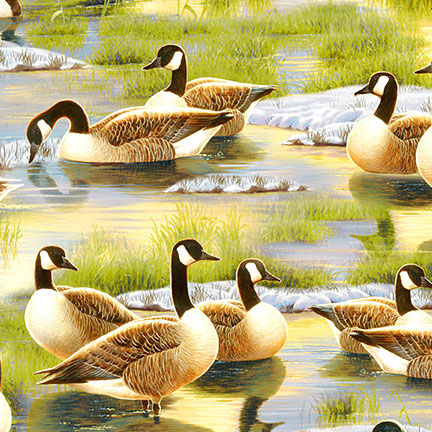 Duck Duck Goose 9119 724 Geese and Ducks Allover Green, Wilmington Prints